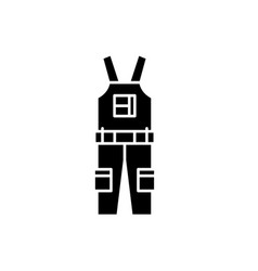 construction overalls black icon sign on vector image