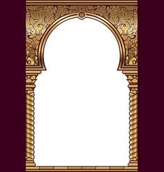 Cover postcard golden oriental vintage arch frame vector