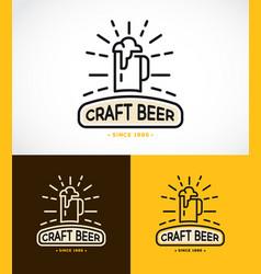 Craft beer line graphics monogram vector