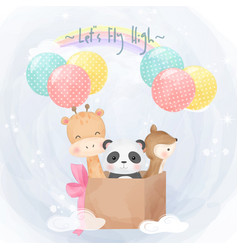 Cute animals flying with air balloons together vector