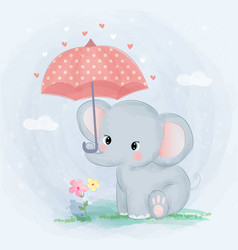 Cute elephant and umbrella vector