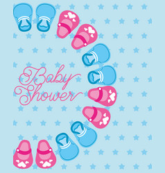 cute little shoes baby shower card dots background vector image