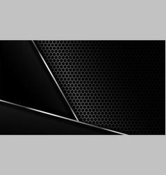 Dark carbon fiber background with metal lines vector