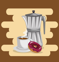 Delicious coffee in teapot and donuts vector