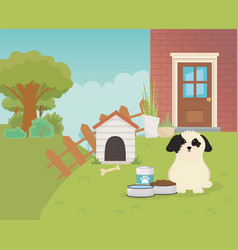 Dog house fence food bowls and trees pet care vector