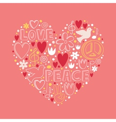 doodle elements on love and peace theme in heart vector image