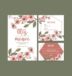 Dried floral wedding card design with lisianthus vector