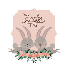 easter time frame with bunnies couple and ornament vector image