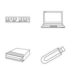 Flash drive laptop memory cardpersonal computer vector