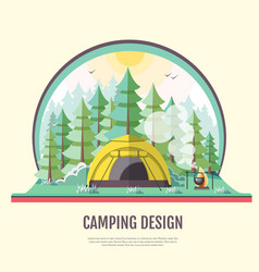 Flat design retro forest landscape and camping vector