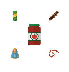 Flat icon meal set of bratwurst canned chicken vector