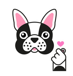 french bulldog loves k pop sticker on white vector image