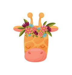 Giraffe head with flower wreath flora and fauna vector