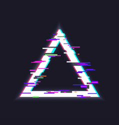 glitched triangle frame vector image