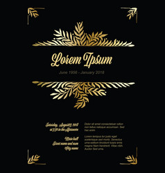 Golden flower frame template made from leafs vector
