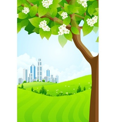 Green Background with Tree and Modern City vector image