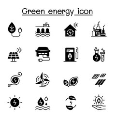 green energy icon set graphic design vector image