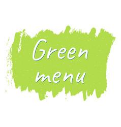 green menu logo or sign vector image