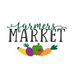 Hand sketched farmers market quote lettering for vector