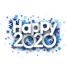 Happy 2020 background with blue beautiful vector