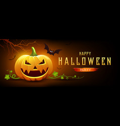 happy halloween pumpkin smile and bat with tree vector image