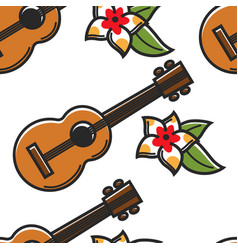 Hawaiian guitar and plumeria flower seamless vector