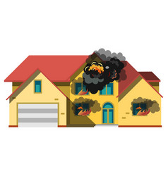 house is insulated on fire vector image