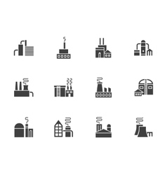 Industrial plants black monochrome icons vector