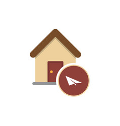 isolated art house with a paper plane vector image