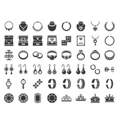 Jewelry and diamond related icon glyph style vector