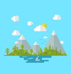 Landscape woods valley hill forest land nature vector image