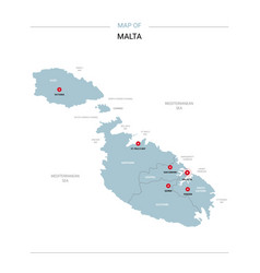 Malta map with red pin vector