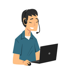Man call center operator customer support service vector