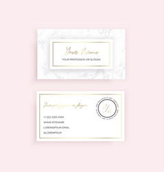 Marble business card with a gold geometric design vector