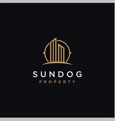 minimalist sun and building property logo icon vector image