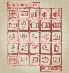 Mobile Phone Icon Doodle Set vector