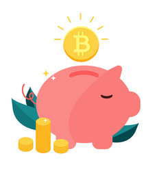 Money box pig with falling bitcoin vector