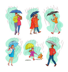 monochrome people walking rain umbrella vector image