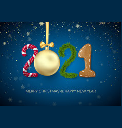 new year 2021 greeting card with 2021 lettering vector image