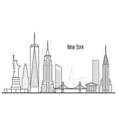 new york city skyline - manhatten cityscape vector image