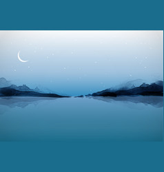 night landscape with islands in water traditional vector image