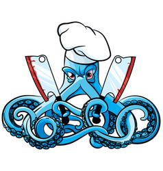 Octopus mad cook vector