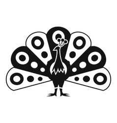 Peacock with flowing tail icon simple style vector