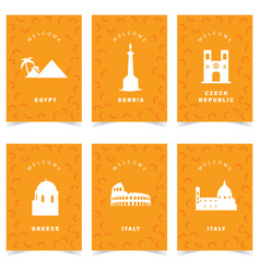 Poster for travel on orange background set two vector