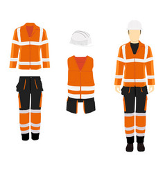 Professional protective clothes and safety helmet vector