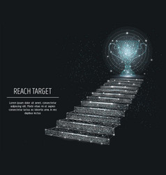 Reach target banner template polygonal art vector