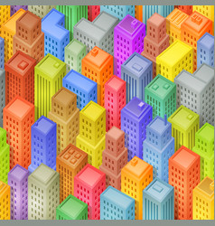 Seamless cartoon isometric city background vector