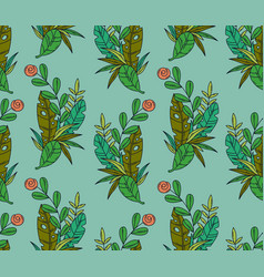 seamless pattern of tropical leaves and flower vector image