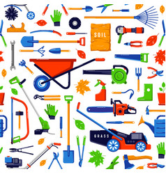 Seamless pattern with garden tools vector