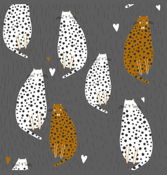 seamless pattern with hand drawn cheetahs vector image